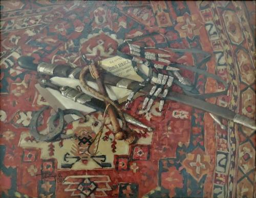 НАТЮРМОРТ С КНИГОЙ В.А. ПОТТО «ДВА ВЕКА ТЕРСКОГО КАЗАЧЕСТВА» худ. П.П. Охрименко